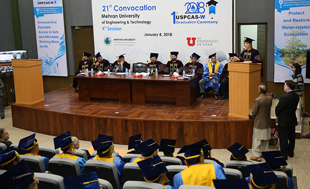 The first group of Master's Degree students graduate fromthe U.S.-Pakistan Center for Advanced Studies in Water at Mehran University