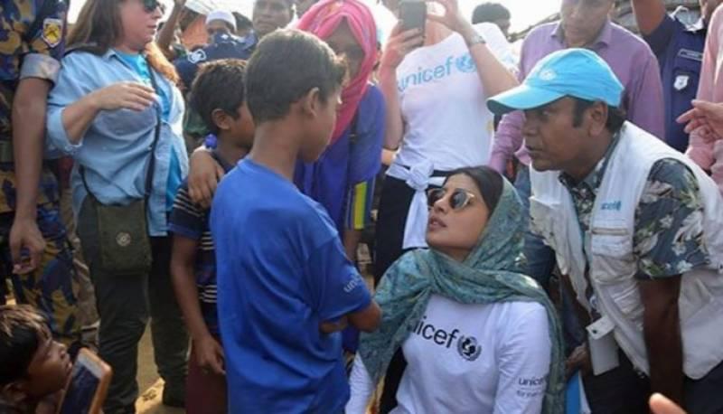 پریانکا چوپڑا روہنگیا مسلمانوں سے اظہار یکجہتی کیلئے کیمپوں میں پہنچ گئیں