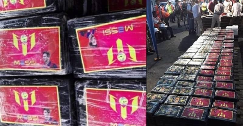 فٹبال سپر اسٹار میسی کا نام بدنام , پیرو میں اربوں روپے کی منشیات پر میسی کا لوگو اور تصویر