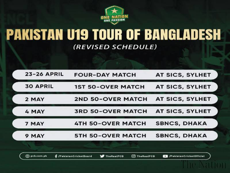 Pakistan U19 cricket team to leave for Bangladesh on 17th
