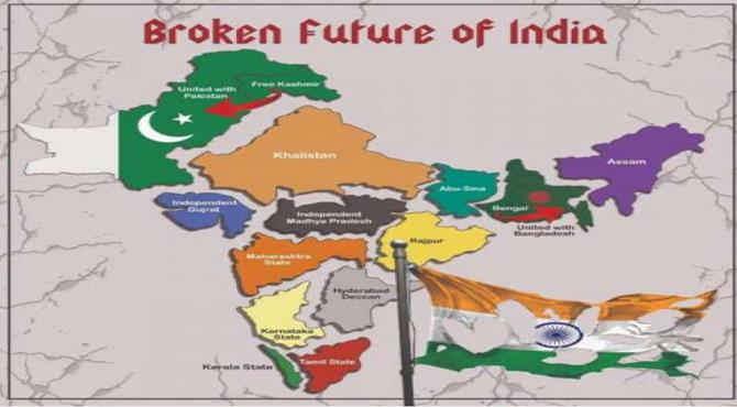 Image result for خالصتان کے حامیوں کی جانب سے بھارت کا نیا نقشہ جاری